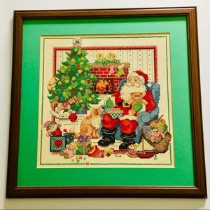 Christmas Santa Claus Dog Toy Cross Stitch Framed